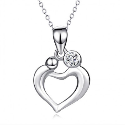 Maternal Love 925 Sterling Silver Heart Zircon Necklace
