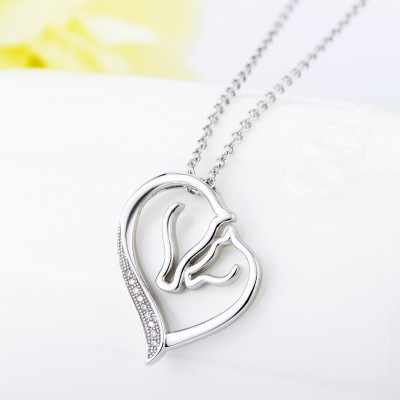 Maternal Love 925 Sterling Silver Zircon Necklace