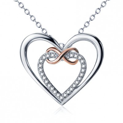 Infinity Love 925 Sterling Silver Rose Gold Zircon Necklace