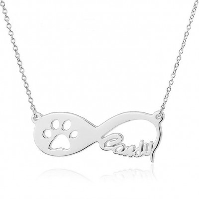 925 Sterling Silver Infinity Love Paw Engraved Necklace