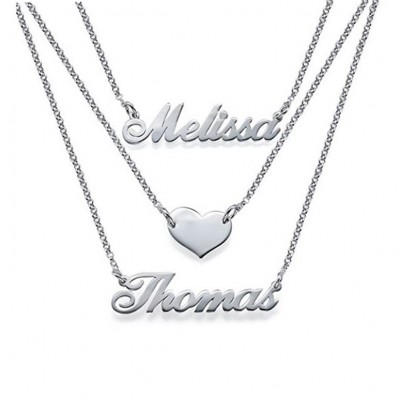 925 Sterling Silver Three Layers Personalized Heart Name Necklace