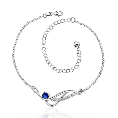 Round Cut Silver White/Blue/Ruby/Amethyst Sapphire Titanium Anklets