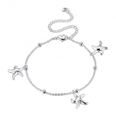 Three Starfish Silver Titanium Anklets