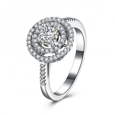Round Cut Halo White Sapphire S925 Silver Engagement Rings