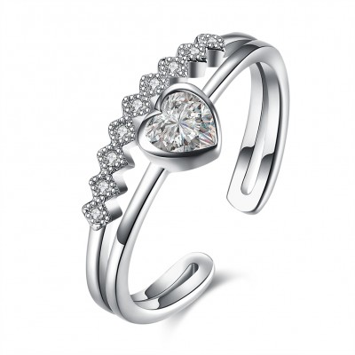 Heart Cut White Sapphire S925 Silver Heart Promise Rings
