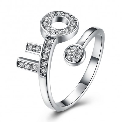 Key Round Cut White Sapphire S925 Silver Promise Rings