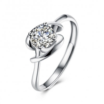 Gorgeous Round Cut White Sapphire S925 Silver Engagement Rings
