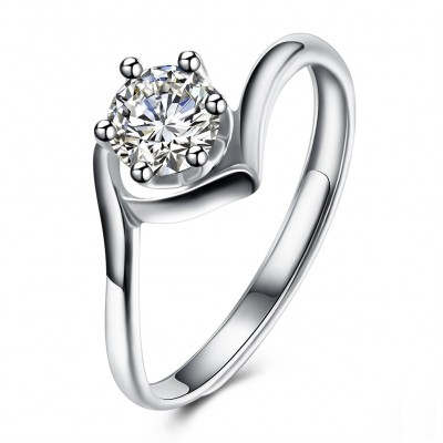Round Cut White Sapphire Nice S925 Silver Engagement Rings