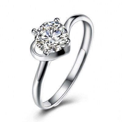 Round Cut White Sapphire Fine S925 Silver Engagement Rings