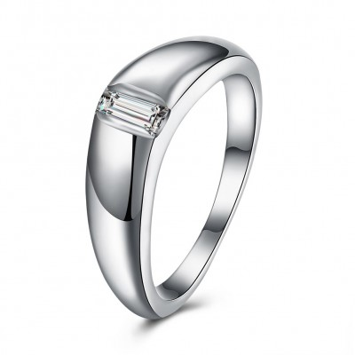 Emerald Cut White Sapphire S925 Silver Wedding Bands