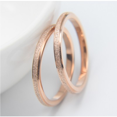 Titanium Steel Rose Gold Simple Couple Bands