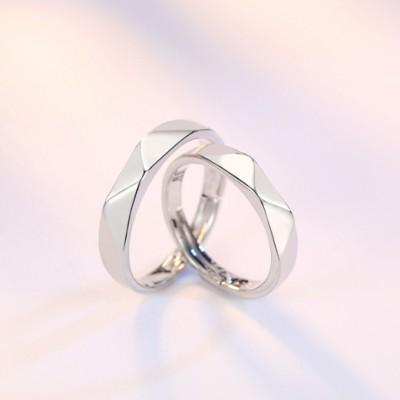 Lozenge Glossy Adjustable Couple Rings