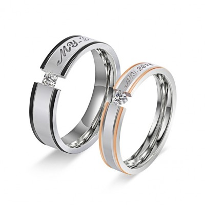 """My Love"" Titanium Steel Couple Rings"