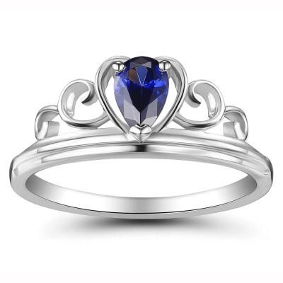 Crown Pear Cut 925 Sterling Silver Women's Ring