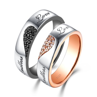 3341db8475 Endless Love White and Black Sapphire s925 Silver Rose Gold Couple Rings ...