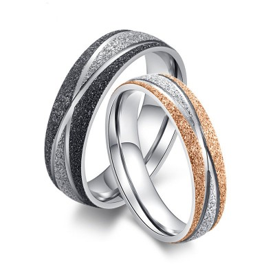 Frosted Titanium Matching Couple Rings
