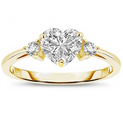 2.51CT Gold Heart Cut White Sapphire 3-Stone 925 Sterling Silver Promise Rings For Her
