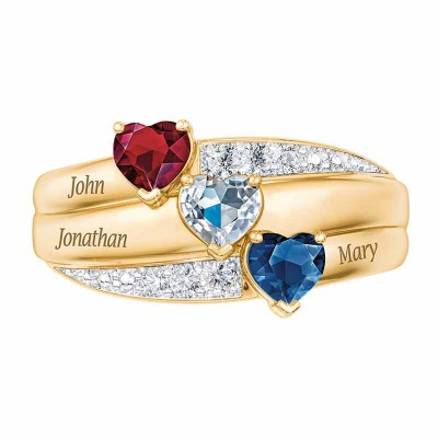 Birthstone Heart Cut 925 Sterling Silver Personalized 3-Stone Engraved Ring