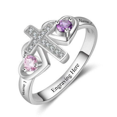 Cross Round Cut 925 Sterling Silver Engraved Personalized Birthstone Ring