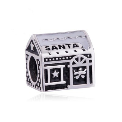 Santa House Charm Sterling Silver