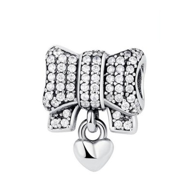 Bowknot & Heart Charm Sterling Silver