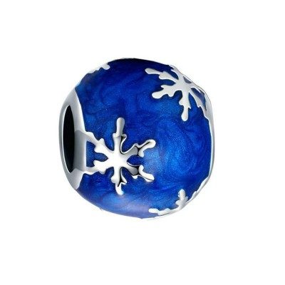 Snowflake Blue Charm Sterling Silver