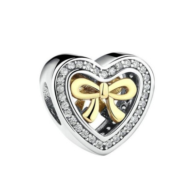 Heart Golden Bowknot Charm Sterling Silver