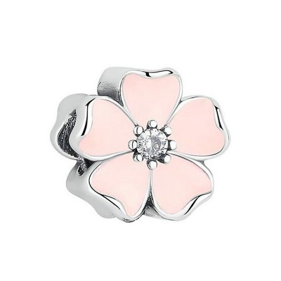 Pink Flower Charm Sterling Silver