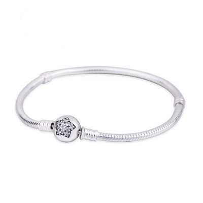 Star Crystal Round Shape Clasp Bracelet Sterling Silver