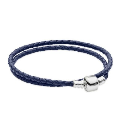 Double Circle Royal Blue Woven Leather Charm Bracelet