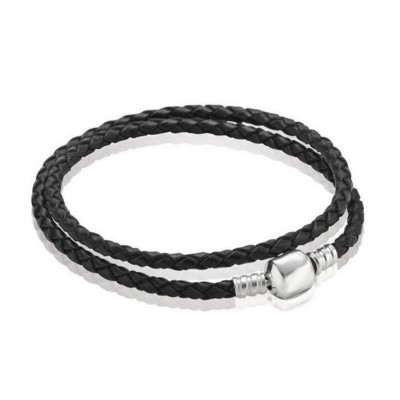 Double Circle Black Woven Leather Charm Bracelet