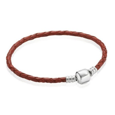 Brown Woven Leather Charm Bracelet