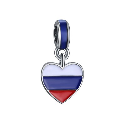 Russian Flag Charm Sterling Silver
