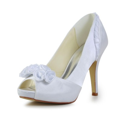 Women's Fabulous Satin Stiletto Heel Pumps With Flower White Wedding Shoes