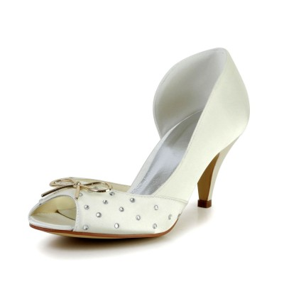 Women's Nice Satin Cone Heel Rhinestone Ivory Wedding Shoes