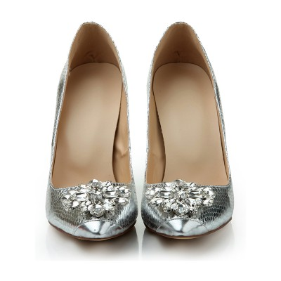 Women's Stiletto Heel Closed Toe Sheepskin With Rhinestone Silver Wedding Shoes