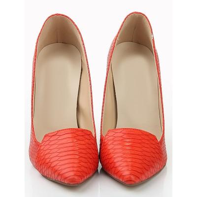 Women's Closed Toe Stiletto Heel Leather Fish-scale Pattern High Heels