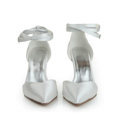 Women's Close Toe Satin Stiletto Heel Buckle Dance Shoes