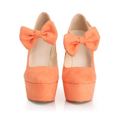 Women's Closed Toe Suede Wedge Heel Platform With Bowknot Wedges Shoes