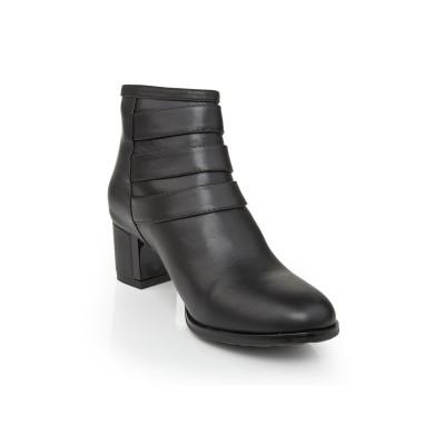 Women's Kitten Heel Cattlehide Leather With Zipper Booties/Ankle Black Boots