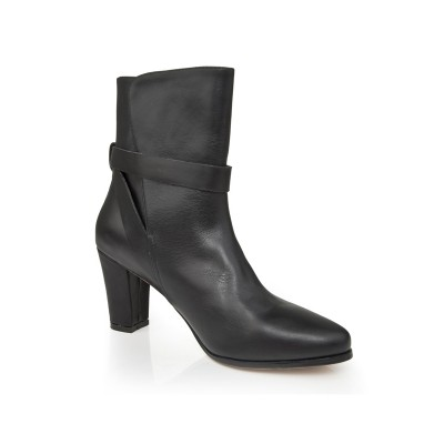 Women's Sheepskin Chunky Heel Closed Toe With Buckle Mid-Calf Black Boots