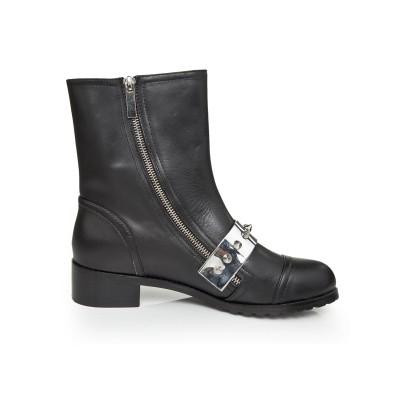 Women's Cattlehide Leather Kitten Heel With Rivet Mid-Calf Black Boots