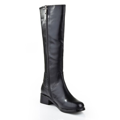 Women's Kitten Heel Closed Toe Cattlehide Leather With Zipper Mid-Calf Black Boots