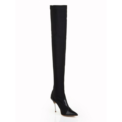 Women's Elastic Leather Stiletto Heel Closed Toe Over The Knee Black Boots