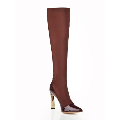 Women's Stiletto Heel Elastic Leather With Rhinestone Knee High Chocolate Boots
