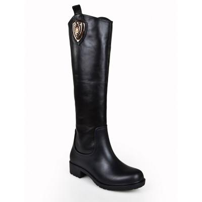 Women's Kitten Heel Closed Toe Cattlehide Leather With Rhinestone Knee High Black Boots