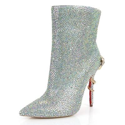 Women's Stiletto Heel Closed Toe Sheepskin With Rhinestone Mid-Calf Silver Boots