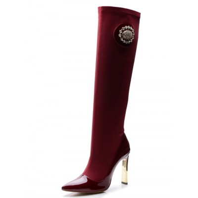 Women's Stiletto Heel Elastic Fabric Closed Toe With Rhinestone Knee High Burgundy Boots