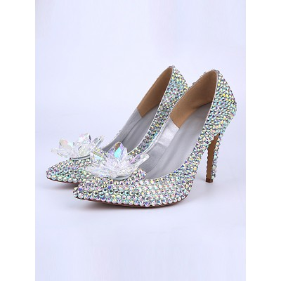 Women's Patent Leather Cone Heel Closed Toe With Crystal Flower High Heels