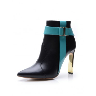Women's Sheepskin Closed Toe Stiletto Heel With Buckle Ankle Black Boots